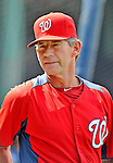 9 June 2012: Washington Nationals bullpen coach Jim Lett watches batting practice prior to a game against the Boston Red Sox at Fenway Park in Boston, MA. The Nationals defeated the Red Sox 4-2 in the second game of their 3-game series. Mandatory Credit: Ed Wolfstein Photo