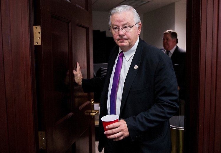 UNITED STATES - SEPTEMBER 29: Rep. Joe Barton, R-Texas, leaves the House Republican Conference meeting in the basement of the U.S. Capitol on Tuesday, Sept. 29, 2015. (Photo By Bill Clark/CQ Roll Call)