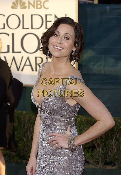 MINNIE DRIVER.62nd Annual Golden Globe Awards - Arrivals at the Beverly Hilton Hotel, Beverly Hills, Los Angeles, California..January 16th, 2005.half length, hand on hip, plunging neckline, cleavage, grey, gray dress, floral embroidery.www.capitalpictures.com.sales@capitalpictures.com.©Capital Pictures