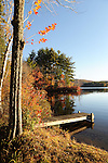 Early Morning Sunrise on Quiet Dock on Island Pond in Stoddard, New Hampshire USA