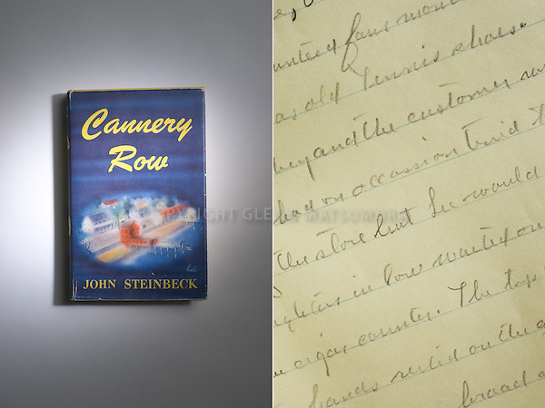 Cannery Row by John Steinbeck book and detail. Stanford Archives