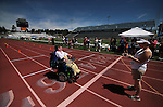 Tina Harris, of Carson City, crosses the finish line in the wheelchair obstacle course during the Special Olympics Nevada 2013 Summer Games in Reno, Nev., on Saturday, June 1, 2013. <br /> Photo by Cathleen Allison