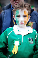 17/3/2011. ST PATRICKS DAY DUBLIN. 10 yr old John Young is pictured on College Green enjoying the Dublin St Patricks Day Parade. Picture James Horan/Collins Photos