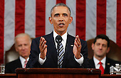 President Barack Obama delivers his State of the Union address before a joint session of Congress on Capitol Hill in Washington, Tuesday, Jan. 12, 2016.<br /> Credit: Evan Vucci / Pool via CNP