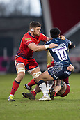 24th March 2018, AJ Bell Stadium, Salford, England; Aviva Premiership rugby, Sale Sharks versus Worcester Warriors; Denny Solomona of Sale Sharks is tackled