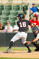 Eric Grabe (18) of the Kannapolis Intimidators at bat against the Rome Braves at CMC-Northeast Stadium on June 16, 2013 in Kannapolis, North Carolina.  The Intimidators defeated the Braves 6-4.   (Brian Westerholt/Four Seam Images)