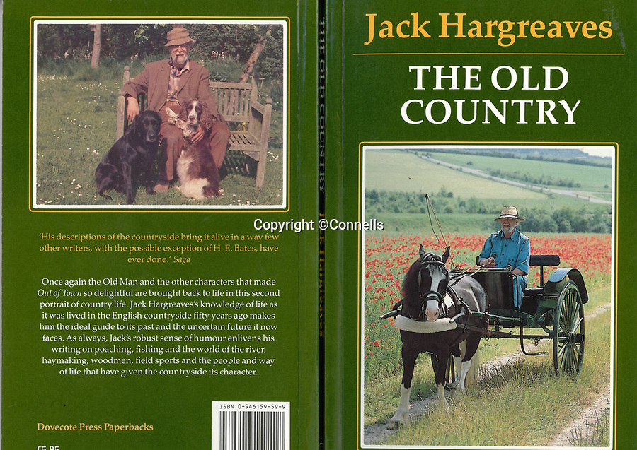 BNPS.co.uk (01202 558833)<br /> Pic:  Connells/BNPS<br /> <br /> TV Presenter Jack Hargreaves' book 'The Old Country' which includes a photograph on the back cover of him sitting on a bench which is still outside the property on sale.<br /> <br /> A country cottage that once belonged to TV presenter Jack Hargreaves, famed for his nostalgic take on rural life, has gone on the market for £850,000.<br /> <br /> Raven Cottage, near Blandford, Dorset, still has Jack's old potting shed where episodes of Old Country were filmed in the 1980s.