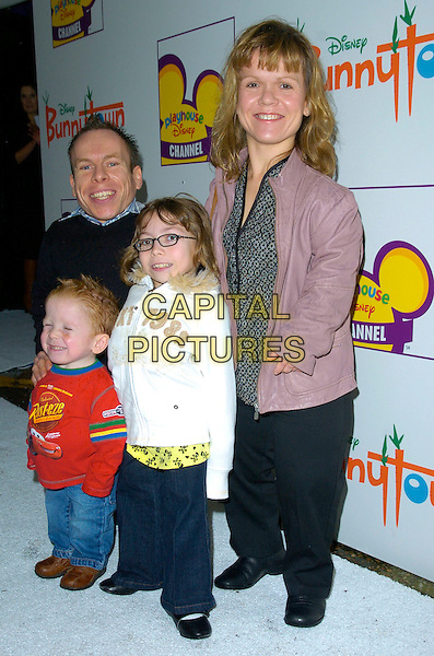 WARWICK DAVIS & FAMILY.At The Playhouse Disney Celebrity Christmas Party, Covent Garden Film Studios, London, England, December 2nd 2007..full length small people wife children kids.CAP/CAN.©Can Nguyen/Capital Pictures