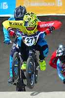 BARRANQUILLA - COLOMBIA, 28-07-2018:Competencia de BMX , en la pista Jefferson Milano (VEN) # 27 y Carlos Oquendo (Col).Juegos Centroamericanos y del Caribe Barranquilla 2018. /BMX competition, at the track Jefferson Milano (VEN) and Carlos Oquendo (Col)of the Central American and Caribbean Sports Games Barranquilla 2018. Photo: VizzorImage /  Contribuidor