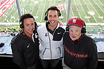 Matt Chazanow, Jason Gesser and Bob Robertson man the radio booth prior to the Cougars Pac-12 Conference game against the Oregon Ducks on October 1, 2016.   The Cougs defeated the Ducks at Martin Stadium, 51-33.