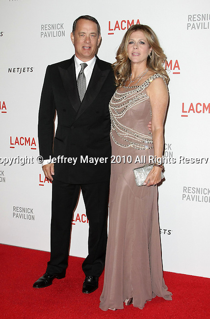 "LOS ANGELES, CA. - September 25: Tom Hanks and Rita Wilson attend the LACMA Presents ""Unmasking"": The Lynda & Stewart Resnick Exhibition Gala at LACMA on September 25, 2010 in Los Angeles, California."