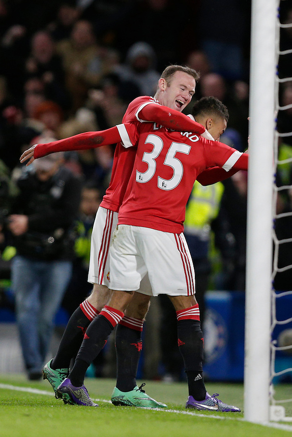GOAL CELEBRATION - Manchester United's Jesse Lingard celebrates scoring the opening goal with Wayne Rooney<br /> <br /> Photographer Craig Mercer/CameraSport<br /> <br /> Football - Barclays Premiership - Chelsea v Manchester United - Sunday 7th February 2016 - Stamford Bridge - London<br /> <br /> &copy; CameraSport - 43 Linden Ave. Countesthorpe. Leicester. England. LE8 5PG - Tel: +44 (0) 116 277 4147 - admin@camerasport.com - www.camerasport.com
