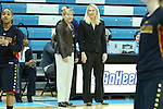 03 January 2013: UNC head coach Sylvia Hatchell (left) and Maryland head coach Brenda Frese (right). The University of North Carolina Tar Heels played the University of Maryland Terrapins at Carmichael Arena in Chapel Hill, North Carolina in an NCAA Division I Women's Basketball game. UNC won the game 60-57.
