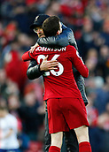 9th February 2019, Anfield, Liverpool, England; EPL Premier League football, Liverpool versus AFC Bournemouth; Liverpool manager Jurgen Klopp hugs Andy Robertson after the final whistle