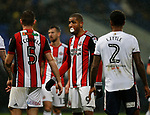 Leon Clarke of Sheffield Utd with padding to stem the flow of blood from his mouth during the Championship match at the Macron Stadium, Bolton. Picture date 12th September 2017. Picture credit should read: Simon Bellis/Sportimage