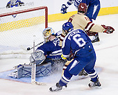 Chris Kreider (BC - 19) scores his first of two goals at 7:39 of the first period. The Boston College Eagles defeated the Air Force Academy Falcons 2-0 in their NCAA Northeast Regional semi-final matchup on Saturday, March 24, 2012, at the DCU Center in Worcester, Massachusetts.