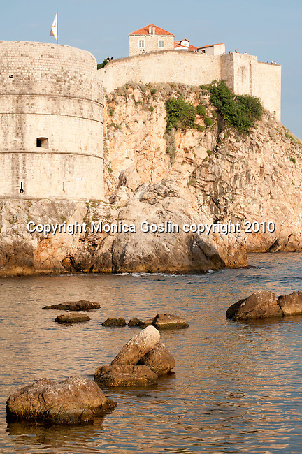 Fort Bokar and the city wall of Dubrovnik, Croatia at sunset.