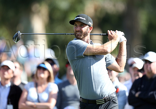 20.02.2016. Pacific Palisades, California, USA.  Dustin Johnson hits a tee shot during the third round of the Northern Trust Open at Riviera Country Club in Pacific Palisades, CA.