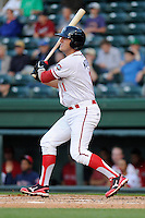 Infielder Nick Moore (11) of the Greenville Drive bats in a game against the Delmarva Shorebirds on Monday, April 29, 2013, at Fluor Field at the West End in Greenville, South Carolina. Greenville won, 3-1 in game two of a doubleheader. (Tom Priddy/Four Seam Images)