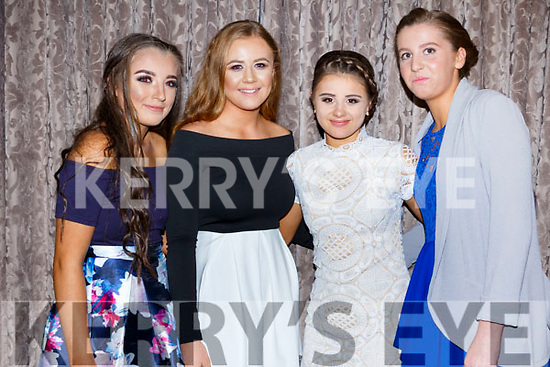 Helen McNamara, Leanna Williams, Ada Relihan, Ciara Bowler  at the Kerry Ladies Gaelic Football Association Awards in The Rose Hotel on Saturday night.