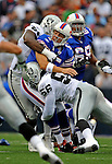 21 September 2008: Buffalo Bills' quarterback Trent Edwards is hurried during game action against the Oakland Raiders at Ralph Wilson Stadium in Orchard Park, NY. The Bills rallied for 10 unanswered points in the 4th quarter to defeat the Raiders 24-23 marking their first 3-0 start of the season since 1992...Mandatory Photo Credit: Ed Wolfstein Photo