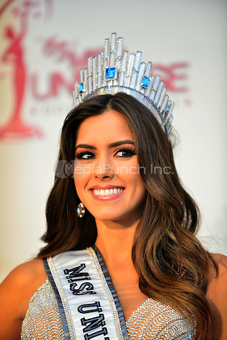 DORAL, FL - JANUARY 25: Miss Colombia Paulina Vega crowned Miss Universe 2015 attends The 63rd Annual Miss Universe Pageant press conference at Trump National Doral on January 25, 2015 in Doral, Florida. Credit: MPI10 / MediaPunch