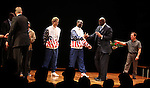 "Larry Bird & Earvin 'Magic' Johnson with Robert Manning Jr., Francois Battiste, Tug Coker, Kevin Daniels, Deirdre O'Connell & Peter Scolari.during the Broadway Opening Night Performance Curtain Call for ""Magic / Bird"" at the Longacre Theatre in New York City on April 11, 2012"