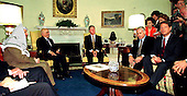 Washington, DC - (FILE) -- United States President Bill Clinton assembles Middle East Leaders in the Oval Office at the White House in Washington, D.C. on October 1, 1996 to attempt to move the peace process forward. Left To Right: Chairman Yassar Arafat of the Palestinian Authority; King Hussein of Jordan;  President Clinton;  Prime Minister Benjamin Netanyahu of Israel; and United States Vice President Al Gore..Credit: James Colburn - Pool via CNP