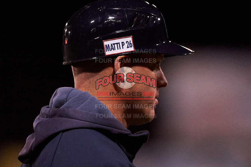 Lake County Captains manager Luke Carlin (11) wears the Matti P patch on his helmet during a Midwest League game against the Beloit Snappers at Pohlman Field on May 6, 2019 in Beloit, Wisconsin. Lake County defeated Beloit 9-1. (Zachary Lucy/Four Seam Images)