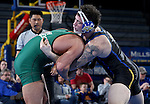 BROOKINGS, SD - FEBRUARY 4:  Nate Rotert from South Dakota State controls Tanner Orndoff from Utah Valley during their 197 pound match at Frost Arena Saturday night. (Photo by Dave Eggen/Inertia)