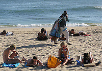 African immigrant working at beach in Estoril,Portugal 16 September 2009