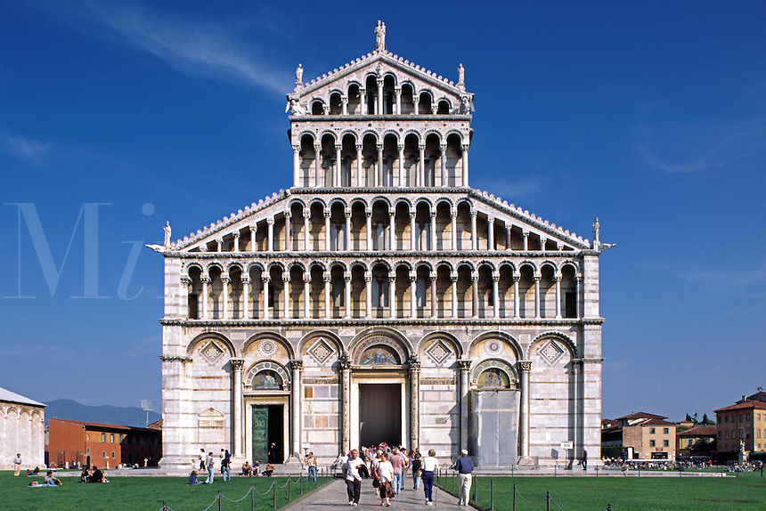 The 12/13 Cent. DUOMO (Cathedral) was the first GOTHIC CHURCH to use the Moorish style striped marble - PISA, ITALY