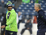 Seattle Seahawks quarterback Russell Wilson (3) and Seattle Seahawks head coach Pete Carroll share a laugh before their game against the Carolina Panthers December 4, 2016 at CenturyLink Field in Seattle, Washington.  The Seahawks beat the Panthers 40-7.  ©2016. Jim Bryant photo. All Rights Reserved.