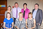 Enjoying themselves at the Kerry Ladies GAA banquet in the Killarney Heights Hotel on Saturday night were front row l-r: Jackie Hartnett, Breda Hartnett, Sandra O'Connor Castleisland. Back row: Lavinia Cunningham Southern Gaels, Gerard and Ann O'Sullivan Scartaglen Tommy O'Connor Castleisland