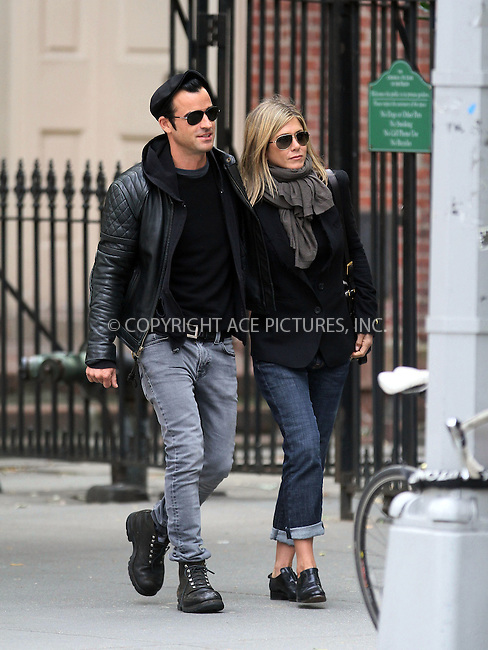 WWW.ACEPIXS.COM . . . . .  ....September 16 2011, New York City....Jennifer Aniston and Justin Theroux walk hand in hand in the West Village on September 16 2011 in New York City....Please byline: NANCY RIVERA- ACE PICTURES.... *** ***..Ace Pictures, Inc:  ..tel: (212) 243 8787 or (646) 769 0430..e-mail: info@acepixs.com..web: http://www.acepixs.com