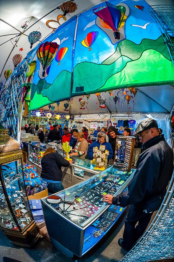 Balloon pins in a shop, Balloon Fiesta Park during the Albuquerque International Balloon Fiesta, Albuquerque, New Mexico USA.
