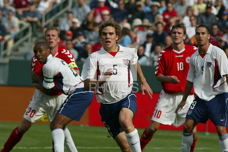 Morten Wieghorst, left, Eddie Pope, middle, Chris Albright, right, Denmark vs. USA, 2004.