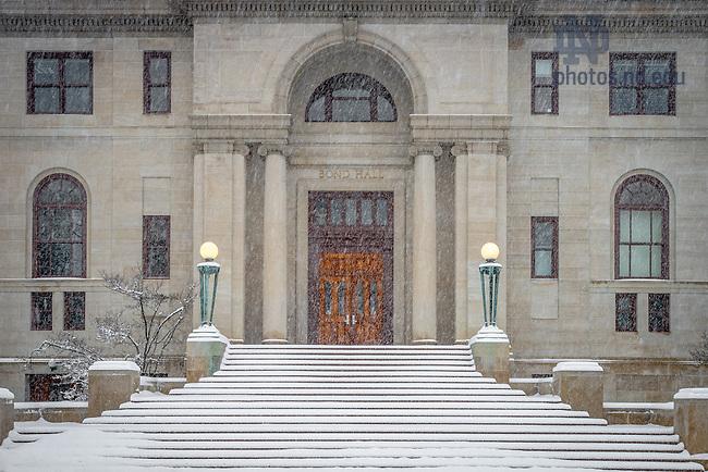 Feb. 1, 2015; Bond Hall in snow (Photo by Matt Cashore/University of Notre Dame)