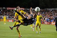 San Jose, California - Saturday, May 19, 2012: The San Jose Earthquakes' Alan Gordon scores a goal against the Columbus Crew to tie the game 1-1 at Buck Shaw Stadium during a regular season game.