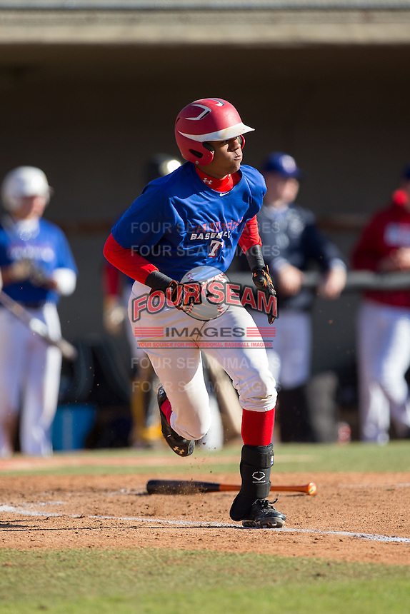 AJ Lee (8) of St. Johns College High School in Chevy Chase, Maryland playing for the Texas Rangers scout team at the South Atlantic Border Battle at Doak Field on November 2, 2014.  (Brian Westerholt/Four Seam Images)