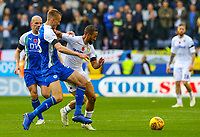 Leeds United's Kemar Roofe holds off the challenge from Wigan Athletic's Dan Burn<br /> <br /> Photographer Alex Dodd/CameraSport<br /> <br /> The EFL Sky Bet Championship - Wigan Athletic v Leeds United - Sunday 4th November 2018 - DW Stadium - Wigan<br /> <br /> World Copyright &copy; 2018 CameraSport. All rights reserved. 43 Linden Ave. Countesthorpe. Leicester. England. LE8 5PG - Tel: +44 (0) 116 277 4147 - admin@camerasport.com - www.camerasport.com