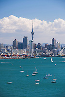 Auckland City Skyline and Auckland Harbour seen from Devenport, New Zealand North Island