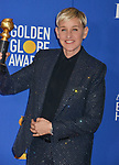 Ellen Degeneres 131 poses in the press room with awards at the 77th Annual Golden Globe Awards at The Beverly Hilton Hotel on January 05, 2020 in Beverly Hills, California.