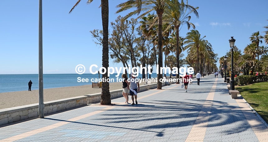 Mediterranean facing promenade, lined with palm trees, San Pedro de Alcantara, Marbella, Spain, March 2014. 201403263092<br /> <br /> Copyright Image from Victor Patterson, 54 Dorchester Park, Belfast, UK, BT9 6RJ<br /> <br /> Tel: +44 28 9066 1296<br /> Mob: +44 7802 353836<br /> Voicemail +44 20 8816 7153<br /> Email: victorpatterson@me.com<br /> <br /> <br /> IMPORTANT: If you wish to use this image or any other of my images please go to www.victorpatterson.com and click on the Terms &amp; Conditions. Then contact me by email or phone with the reference number(s) of the image(s) concerned.
