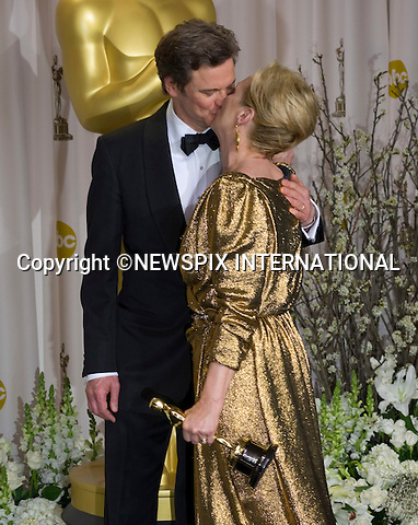 """MERYL STREEP AND COLIN FIRTH PUCKER-UP.Meryl Streep winner of the Best Actress Award with Colin Firth who made the presentation to her at the 84th Academy Awards, Kodak Theatre, Hollywood, Los Angeles_26/02/2012.Mandatory Photo Credit: ©Dias/Newspix International..**ALL FEES PAYABLE TO: """"NEWSPIX INTERNATIONAL""""**..PHOTO CREDIT MANDATORY!!: NEWSPIX INTERNATIONAL(Failure to credit will incur a surcharge of 100% of reproduction fees)..IMMEDIATE CONFIRMATION OF USAGE REQUIRED:.Newspix International, 31 Chinnery Hill, Bishop's Stortford, ENGLAND CM23 3PS.Tel:+441279 324672  ; Fax: +441279656877.Mobile:  0777568 1153.e-mail: info@newspixinternational.co.uk"""