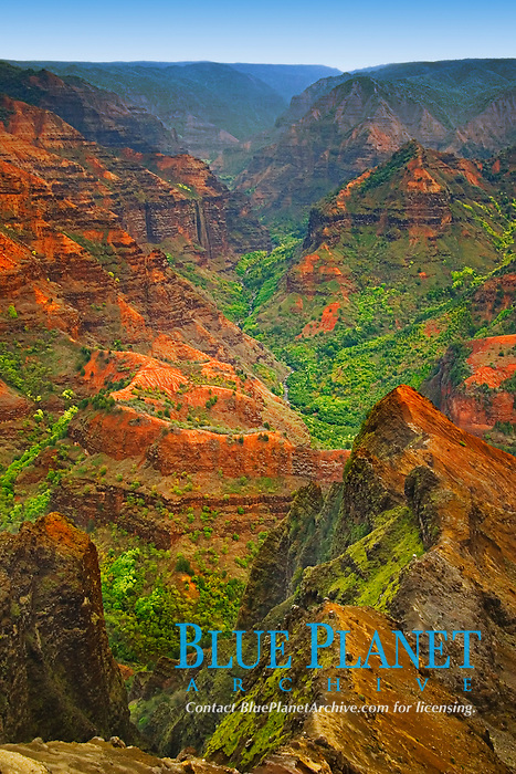 Waimea River and Waimea Canyon, the 'Grand Canyon of the Pacific Ocean', approximately one mile wide and ten miles long, more than 3,500 feet deep, State Park, Kauai, Hawaii