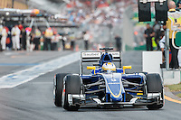 March 14, 2015: Marcus Ericsson (SWE) #9 from the Sauber F1 Team leaves the pits for qualification at the 2015 Australian Formula One Grand Prix at Albert Park, Melbourne, Australia. Photo Sydney Low