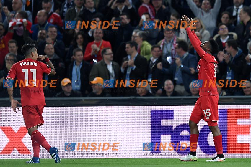 esultanza gol Daniel Sturridge, Goal celebration.<br /> Basilea (Svizzera) 18-05-2016 - finale Europa League / Liverpool-Siviglia. <br /> Foto Matteo Gribaudi / Image Sport / Insidefoto