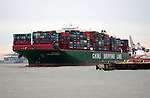 Large container ship, the Indian Ocean, of China Shipping Line,  Port of Felixstowe, Suffolk, England, UK
