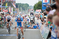 Laurens De Vreese (BEL/Wanty-GroupeGobert) &amp; Bjorn Leukemans (BEL/Wanty-GroupeGobert) crash just in front of the finish line<br /> <br /> 2014 Belgium Tour<br /> (final) stage 5: Oreye - Oreye (179km)